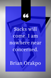 Sacks will come. I am nowhere near concerned. 1